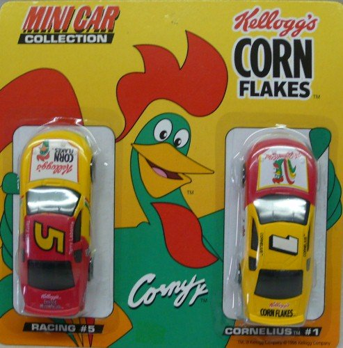 kelloggs-corn-flakes-mini-car-collection-1996-nascar-kelloggs-no-5-and-corny-no-1-164-scale-die-cast