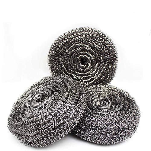 (DIY House Pack of 3,30g Extra Large Stainless Steel Scourers Sponges Scrubbers for Kitchens and More,Metal Stainless Steel Scouring Pads Tackling for Tough Cleaning Jobs.)