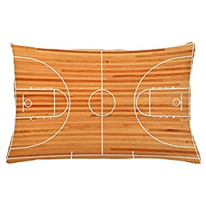 Lunarable Boy's Room Throw Pillow Cushion Cover, Standard Floor Plan on Parquet Backdrop Basketball Court Playground Print, Decorative Accent Pillow Case, 26 W X 16 L Inches, Pale Brown White