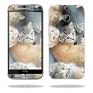 MightySkins Protective Skin Decal Cover for HTC One M8 Sticker Skins Kittens