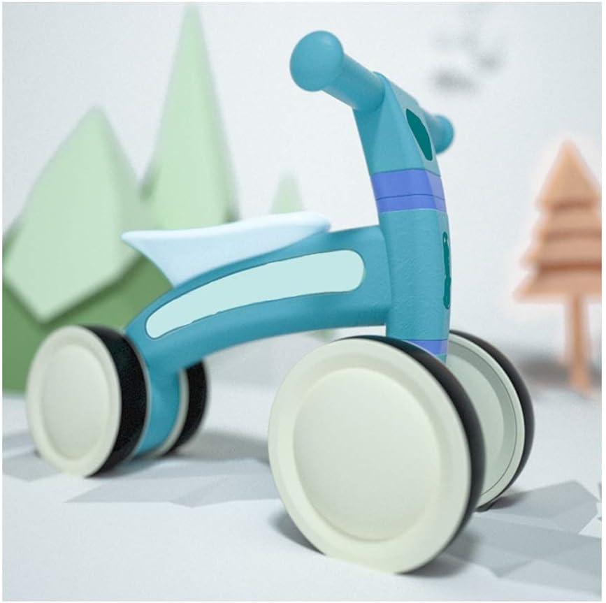 YJFENG-Bicicleta de equilibrio Bicicleta Sin Pedales Andador Cuatro Ruedas Prevención De Caídas Peso Ligero Ningun Ruido Fácil Instalación Interior Aplicable (Color : Blue, Size : 50x24.5x34.5cm)