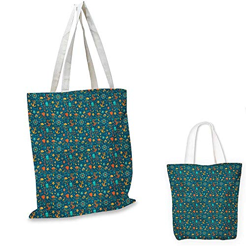 (Octopus small clear shopping bag Tropical Underwater Fauna Cartoon Elements Gemstones Animals Bubbles sloth shopping bag Teal Orange and Marigold. 12