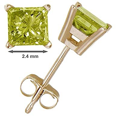 1 4 cttw Princess Cut Yellow Diamond Stud Earrings 14k Gold