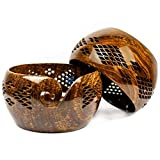 Premium Rosewood Crafted Yarn Storage Bowls With Decorative Carved Handmade Grills - Knitting & Crochet Accessories Supplies (Large)