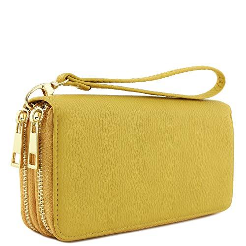 - Double Zip Around Wristlet Wallet (Mustard)