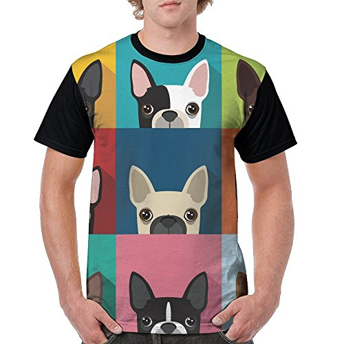 QQWDBB Mens Circular Collar T-Shirt Boston Terrier Bulldog Fashion Youth & Adult T-Shirt