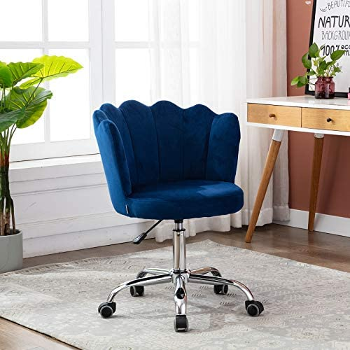 SSLine Modern Upholstered Desk Chair Adjustable Swivel Computer Chair on Wheels Elegant Velvet Fabric Home Office Task Chairs