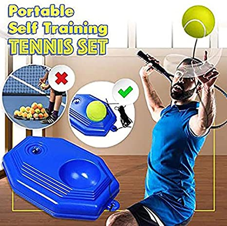 Single Tennis Trainer Self Study Training Tool Exercise Baseboard Sparring US