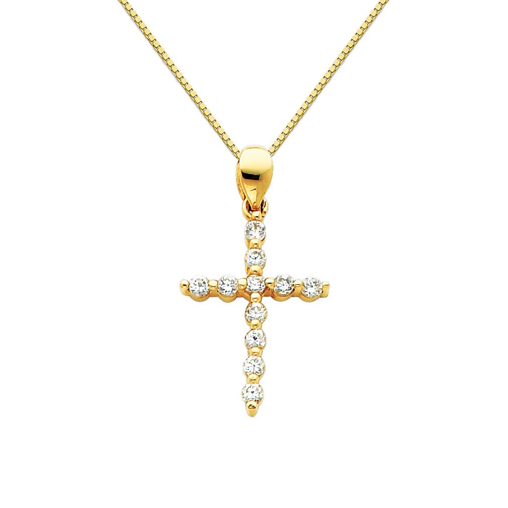 The World Jewelry Center 14k Yellow Gold CZ Religious Cross Pendant with 0.65mm Box Link Chain Necklace