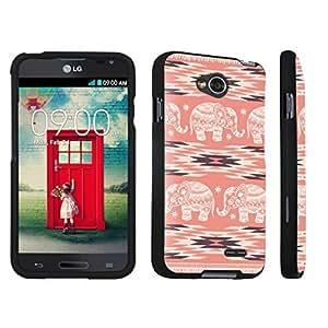 DuroCase ? LG Optimus L70 / LG Optimus Exceed 2 Hard Case Black - (Coral Aztec Elephant)