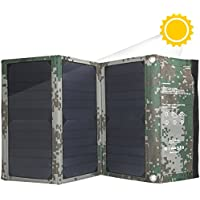 Solar Charger 22W, Friengood Foldable SunPower Solar Panel Phone Charger with Dual USB Ports, Waterproof Solar Powered Battery Charger for iPhone, iPad, Android and Other USB 5V Devices (Camouflage)