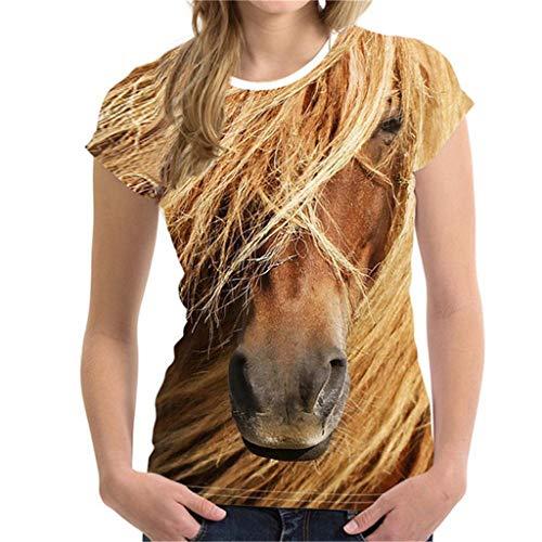 VLDO Unisex Funny 3D Print Animal Summer Short Sleeve T-Shirts Top Blouse