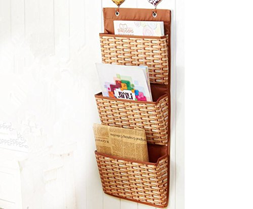 Tingya Mail Magazine Hanging Storage Bag Wall Mount Over the Door Organizer Printed Wicker Weave Pattern (Wicker Basket Storage Ideas)