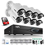 SANNCE 8CH 1080P PoE NVR with 1TB Hard Drive and (8) HD 1920x1080p Surveillance Network IP Cameras, 2.0 Mega-pixels, Motion Detection & Quick Remote Access, Power Over Ethernet