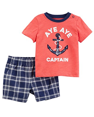 Carter's Boys' Newborn-24M 2 Piece Anchor Tee with Shorts 12 Months
