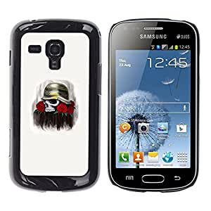 Shell-Star Arte & diseño plástico duro Fundas Cover Cubre Hard Case Cover para Samsung Galaxy S Duos / S7562 ( Solider Rose Skull Death Flowers War )