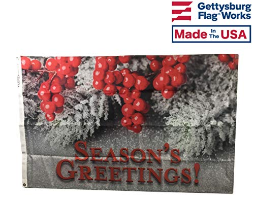 (3x5' Season's Greetings Holly and Pine Cone Decorative Outdoor Flag, Durable All-Weather Nylon, Made in The USA)