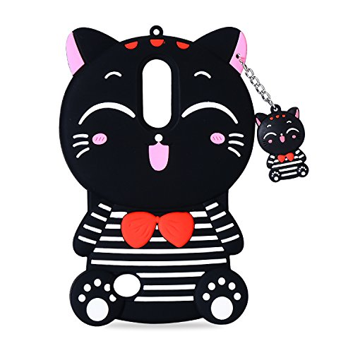 Black Cat Case for LG Fortune 2,Aristo 2 X210,Cute 3D Cartoon Animal Cover,Kids Girls Soft Silicone Kawaii Character Skin for LG Zone 4,Risio 2/3,Rebel 2/3,Tribute Dynasty,Phoenix3,LG K8 2018,2017 (Animated Phone)