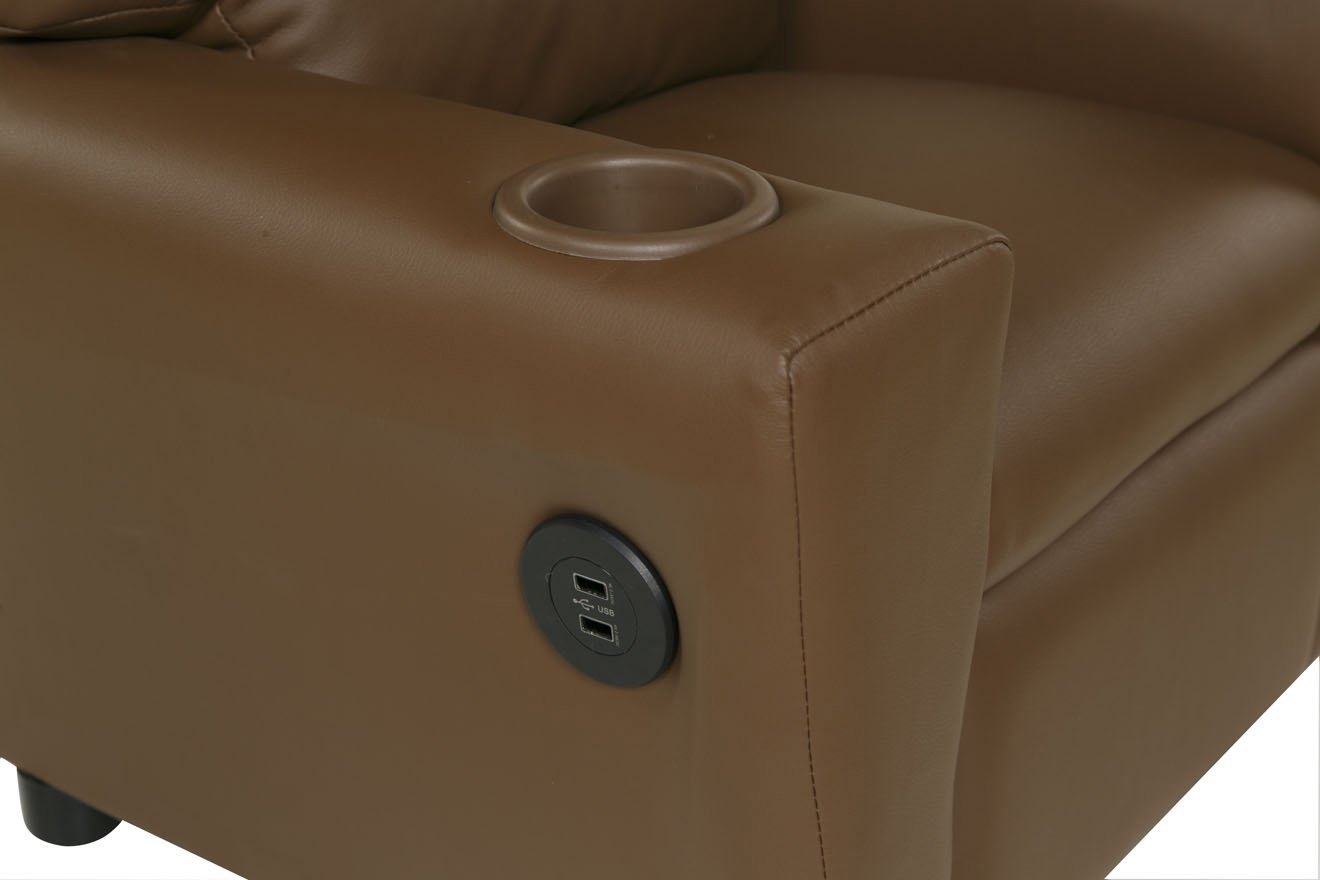 Relaxzen 60-7100KU11 Youth Recliner with Cupholder and Dual USB, Brown