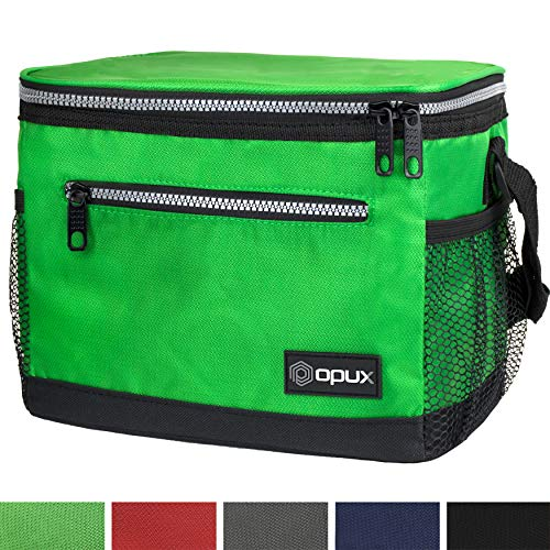 OPUX Premium Lunch Box, Insulated Lunch Bag for Men Women Adult | Durable School Lunch Pail for Boys, Girls, Kids | Soft Leakproof Medium Lunch Cooler Tote for Work Office | Fits 8 Cans (Green)