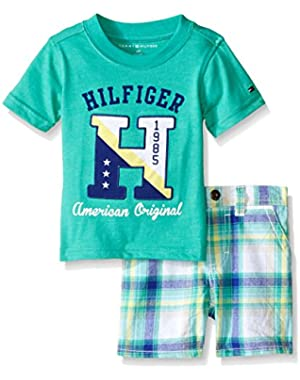 Tommy Hilfiger Baby Boys' Heathered Jersey Tee and Woven Dyed Plaid Shorts