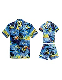 Matching Father Son Hawaiian Luau Outfit Men Boy Shirts Shorts Blue Sunset