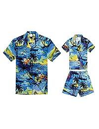Matching Father Son Hawaiian Luau Outfit Men Boy Shirts Shorts Blue Sunset