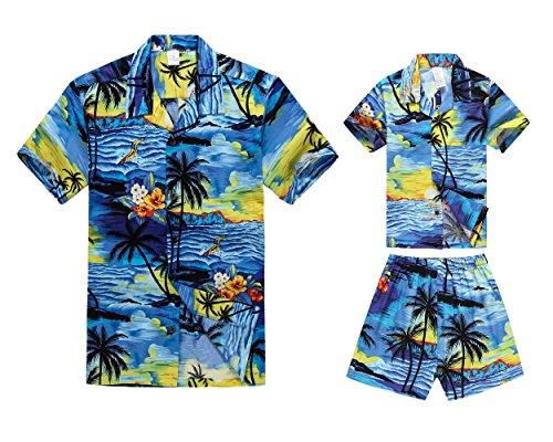 Matching Father Son Hawaiian Luau Outfit Men Shirt Boy Shirt Shorts PW Blue Sunset