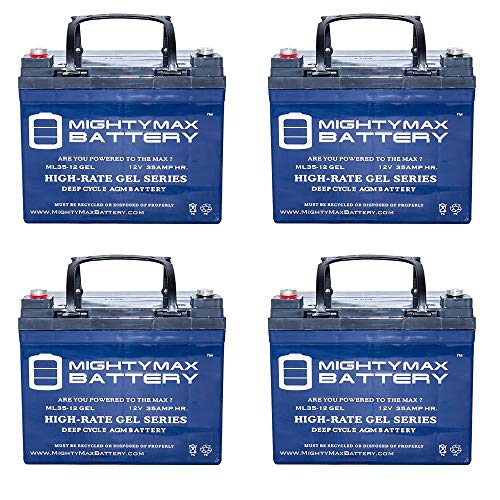 Dart Runabout - 12V 35AH GEL Battery for INVACARE,DART RUNABOUT, EXEL 250 - 4 Pack - Mighty Max Battery brand product
