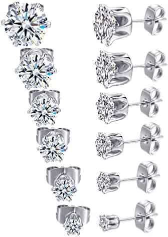1ee8dcc32 MDFUN 18K White Gold Plated Round Clear Cubic Zirconia Stud Earring Pack of  6 Pairs (