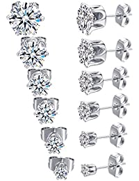 18K White Gold Plated Round Clear Cubic Zirconia Stud Earring Pack of 6 Pairs (6 Pairs)