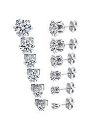 MDFUN 18K White Gold Plated Round Clear Cubic Zirconia Stud Earring Pack of 6 Pairs (6 Pairs)