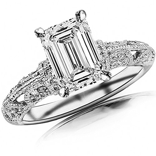 14K White Gold 1 CTW Vintage Pave Set Round Diamond Engagement Ring w/ 07 Ct Emerald Cut G Color SI1 Clarity Center