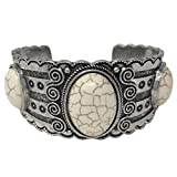 Gypsy Jewels Burnished Silver Tone with Stones Wide Cuff Bangle Bracelet (Cream Oval 3 Stone)