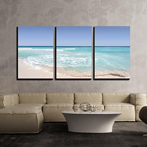 Tropical Seascape of Sea Waves Under Blue Sky x3 Panels