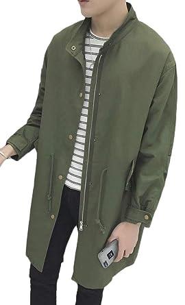 2004a0891ee Joe Wenko Men s Plus Size Overcoat Stand Collar Zipper Cargo Drawstring  Trench Coat Army Green S