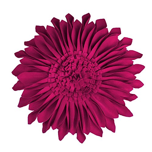 JW Christmas Gifts Handmade 3D Sun Flowers Accent Pillows Round Cushions for Home Sofa Car Office Chair Bed Decoration Wool Magenta 12 Inch / 30 CM (Magenta Pillow)