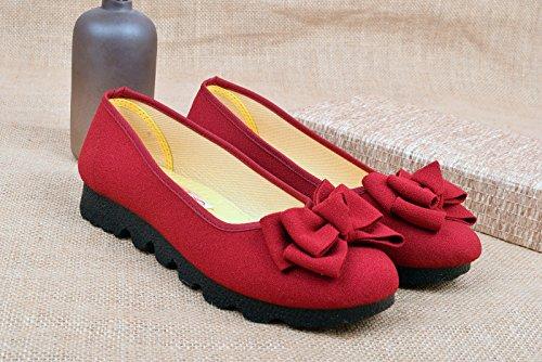 Otoño transpirable Claret De Calzado Plano De cómodo Madre Old HBDLH Tela Mediana Fondo Zapatos Zapatos Antideslizante Zapatos Edad de Casual mujer Fondo Beijing Suave vgqwAApFt