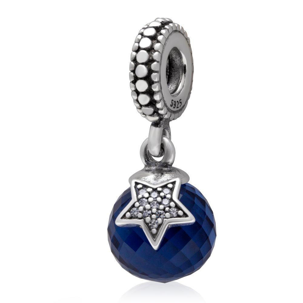 Xuthus Charms Moon Star with Shiny Clear CZ Stone Midnight Blue Crystal Pendant 925 Sterling Silver Night Starry Beads Suitable for European Bracelets