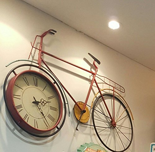 TNKML Large Indoor Decorative Wall Clock Old Iron Wrought Iron Bicycle Wall Hanging Living Room Bedroom Art Clock (Iron Art Wall Wrought Bicycle)