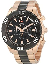 Men's SP12055 Valor Elite Black Dial with Rose-Gold Stainless-Steel Band Watch