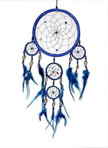 Indianer Muschel Traumfänger BLAU Dreamcatcher TON in TON Zwirn mit Kaurimuscheln 16/43 cm.