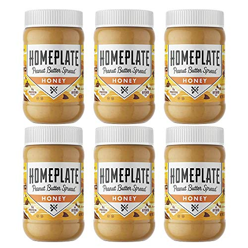 HomePlate Peanut Butter, Honey Flavored Creamy, Healthy, Natural, Gluten Free, Non-GMO, 16oz jar, Pack of 6 ()