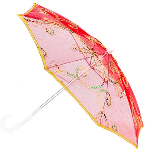 [Cute Costume Dress Up Parasol Umbrella for Custom Made Pretend Play - Great for kids costumes (RED)] (Beard Long Hair Costume Ideas)