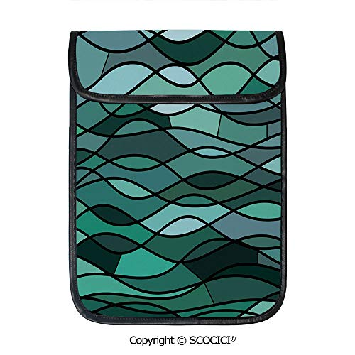 SCOCICI Protective Storage Carrying Sleeve Case - Abstract Mosaic Waves Ocean Inspired Expressionist Pattern Marine Design Image Decorative Compatible with 12.9 Inch iPad Pro Tablet ()