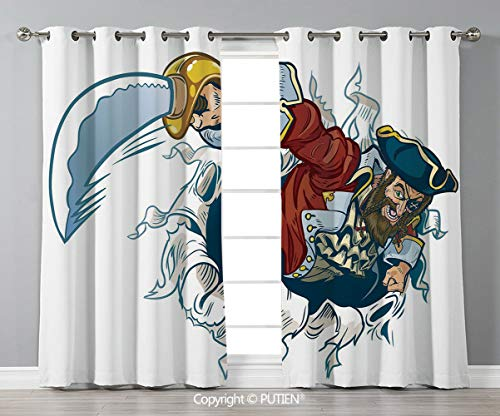 Grommet Blackout Window Curtains Drapes [ Pirate,Cartoon Corsair Buccaneer Rips Out of Backdrop Effect Brandishing a Cutlass Image,Multicolor ] for Living Room Bedroom Dorm Room Classroom Kitchen Cafe