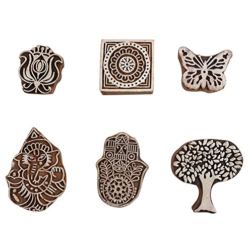 - IndianShelf Handmade 6 Piece Wooden Printing Blocks Textile Crafts Canvas Paper Hand Carved Saree Border Making Pottery Cloth Stamps WB-1951