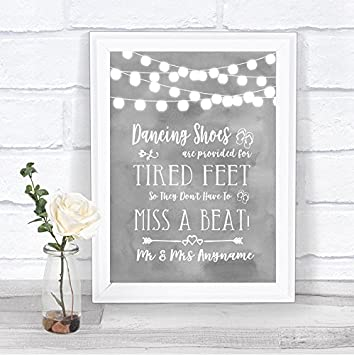 d29ea6215 Amazon.com  Grey Watercolour Lights Dancing Shoes Flip-Flop Tired Feet  Wedding Sign  Office Products