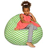 Big Comfy Bean Bag Chair: Posh Large Beanbag Chairs for Kids, Teens and Adults - Polyester Cloth Puff Sack Lounger Furniture for All Ages - 27 Inch - Chevron Green and White