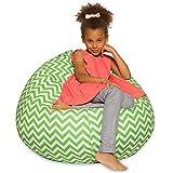 Posh Bean Bag Chair for Children, Teens & Adults - 27'', Chevron Green and White